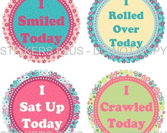 Baby Girl First 1st Milestones Birthday Milestone Tee Shirt Stickers Photo Prop - Blue Pink Floral Dots - Nice Shower Gift