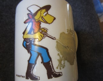 Vintage MYCODEX MAX Advertising Character Coffee Cup Made in England color change Mug kitschy