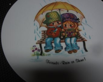 vintage Friends Rain or Shine Bareuther Waldsassen Bavaria Germany 242 plate big eye girl & boy kitschy decorative art piece