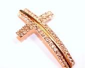 SALE Light Gold Rhinestone Cross Bracelet Connector Charm