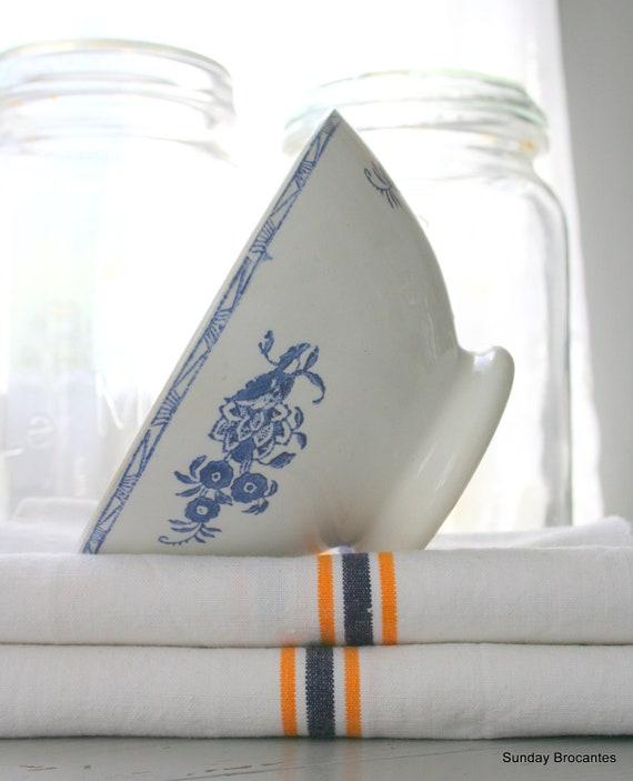 Two Blue Floral Print and White Café au Lait Bowls