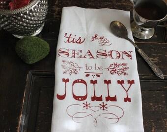 Christmas Towels -3- Tea Towels - Kitchen Towels - Flour Sack Towels - JOLLY -Dish Towel- Vintage Christmas Decoration-Modern Vintage Market