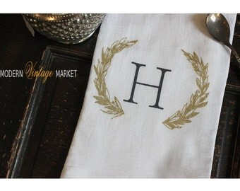 3 Kitchen Towel - Flour sack Towel - Dish Towel - Tea Towel- Monogrammed Wreath by Modern Vintage Market