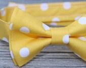 Yellow Bow Tie, Yellow Bowtie, Boy's Bow Tie, Yellow Tie for Men, Yellow Polka Dot Tie, bow tie for baby