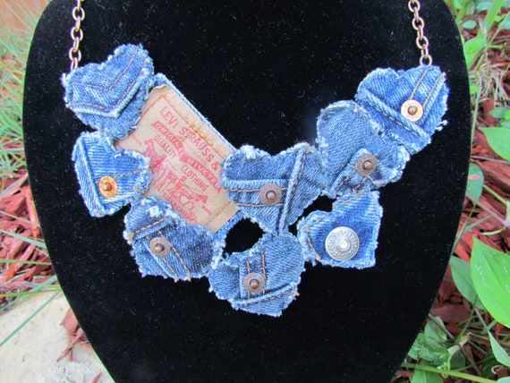 Bib Necklace - Recycled Levis Denim - Statement Piece - Copper Finish Chain - Upcycled