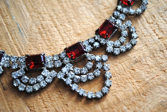 RESERVED - Vintage Necklace - Rhinestone Bauble Necklace Costume Jewelry Red Crystal Mid Century Retro