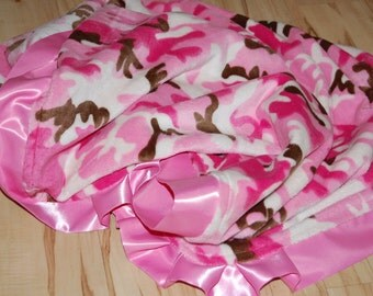 Pink Camo Minky Baby/Toddler/infant Blanket