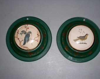 A Pair of Vintage Tole Wall Hangings With Japanese Prints of Birds