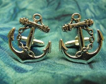 Mens Silver Cufflinks,   Nautical Anchor Steampunk Mens Accessory Wedding Groomsmen  Handmade