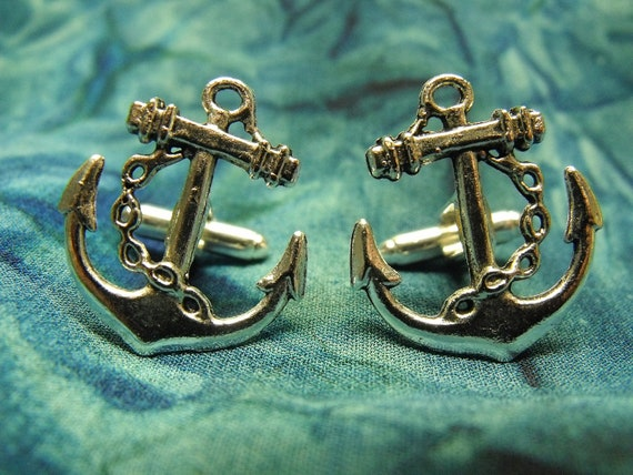 Mens Silver Cufflinks,   Nautical Anchor Steampunk Mens Accessory Wedding Groomsmen  Handmade