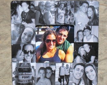 """Unique Valentine's Day Gift, Personalized Picture Frame, Custom Collage Wedding Photo Frame, Engagement Gift, 8"""" x 8"""""""