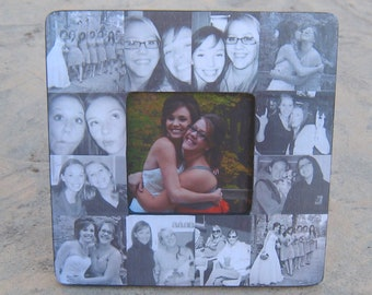 """Bridesmaid Collage Picture Frame, Personalized Sister Gift, Custom Maid of Honor Frame, Birthday Gift, Best Friend Gift, 8"""" x 8"""" Frame"""