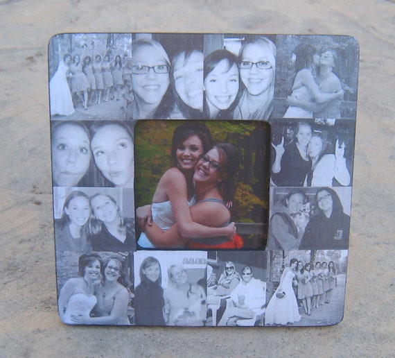 "Personalized Sister Gift, Bridesmaid Picture Frame, Custom Collage Maid of Honor Frame, Bridal Shower Gift, Best Friend Gift, 8"" x 8"" Frame"