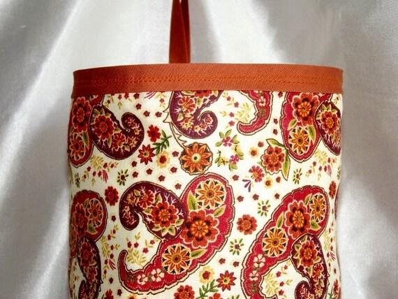 Rust Paisley - Plastic Bag Holder - Bag Sock