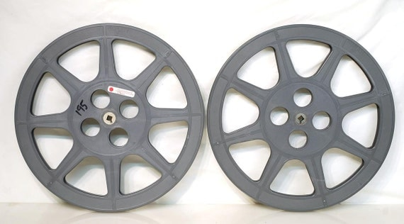 "Two Vintage 12"" 1200' 16mm Movie Film Reels for Decoration"