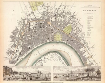 1832 Map of Bordeaux, France