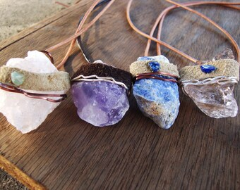 CHOOSE ONE Reiki charged unisex crystal and salvaged leather necklace rose quartz,amethyst,sodalite,pale smokey quartz