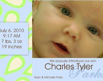 Birth Announcement- Teardrops of Joy- digital