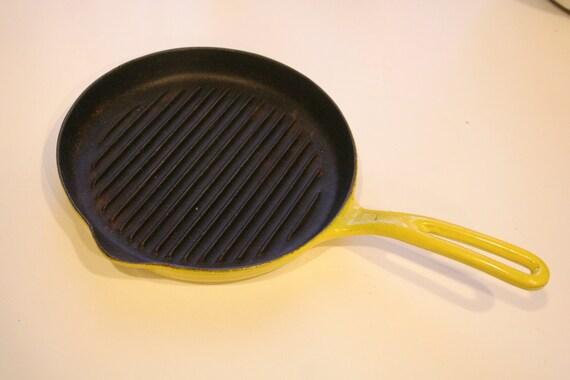 Vintage 1950s Copco Danish Enamel Cast Iron Grill Pan