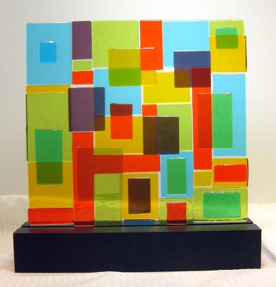 Abstract Art Glass Sculpture Mid Century Modern