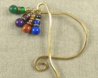 Book Mark Hand Forged Brass - Monogram Initial P - Brass, Stone & Glass Beads