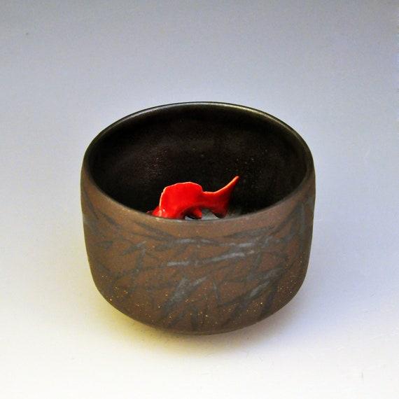 Koi tea bowl black bamboo for Koi viewing bowl