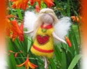 Ella - Needle Felted Wool guardian angel, Waldorf inspired fairy doll, wool