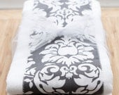 Gray Damask Set of 2 Burp Cloths
