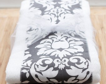 Gray Damask Set of 2 Burp Cloths