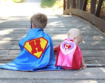 On Sale Now 2 -PERSONALIZED HERO CAPES and Masks Brother Sister Combo