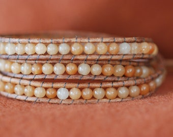 Leather wrap bracelet with peach aventurine beads on brown leather (B207)