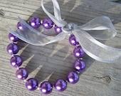 Pearl Stretch Bracelet Purple Holidays Organza Ribbon