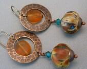 Lampwork Earrings with glass crystal and Vintaj Brass