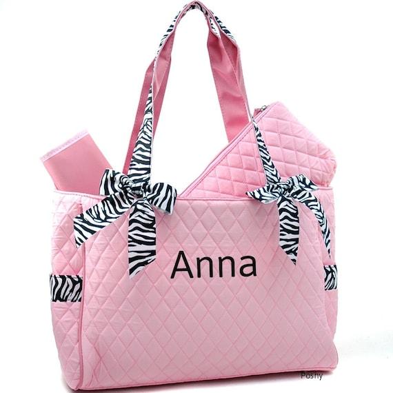 personalized diaper bag in pink zebra 2piece girl. Black Bedroom Furniture Sets. Home Design Ideas