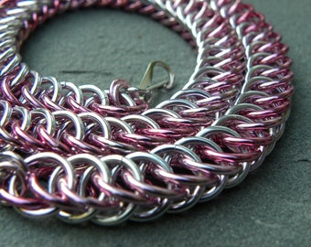 Breast Cancer Awareness Half Persian Pink Anodized Aluminum Chainmaille Necklace