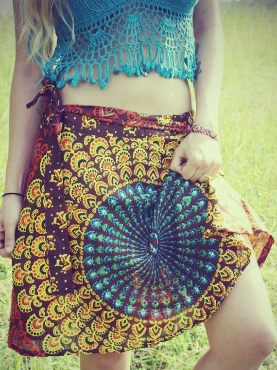 Handmade Autumn Mini Wrap Skirt, Peacock Hippie Skirt, Cover-Up, Boho, Gypsy, Blue Sunburst, Peacock Print, Skirt, Bohemian, Festival Skirt