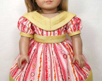 Mid- 1800 century gown  that fit 18 inch doll like American girl doll ,Marie Grace, Cecile
