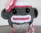 Pink sock monkey hat,  for 3-6 months