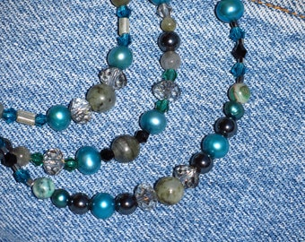 """Sale!! 3 strand 22"""", 23 1/2"""" and 25"""" Labradorite Gemstone & Pearl Necklace, Silver plated toggle clasp Free Ship USA 0612N"""