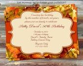 DIY Printable Fall Theme Birthday Invitation