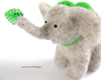 Baby Elephant, Felted Wool Elephant, Gray with a Green Bow, Needle Felted Animal, Jungle Decoration, Nursery Decor,