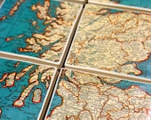 Vintage Turquoise Map Coasters - Scotland Set of 6