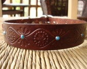 """1 1/4"""" Brown Leather Dog Collar.  Chocolate and Turquoise with Embossed Retro Design.  Size  Medium or Large."""