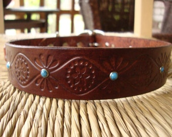 """1 1/4"""" Brown Leather Dog Collar.  Chocolate and Turquoise with Embossed Retro Design."""