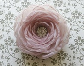 Organza hair flower - soft dusty pink/mauve organza flower with a vintage inspired rhinestone center