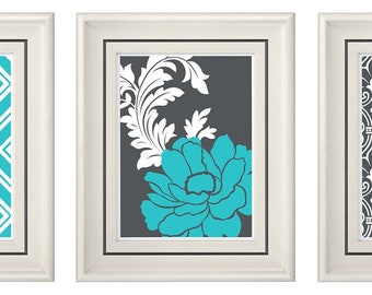 Set of Three Modern Turquoise/Gray Wall Art - Print Set - Home Decor (Unframed)