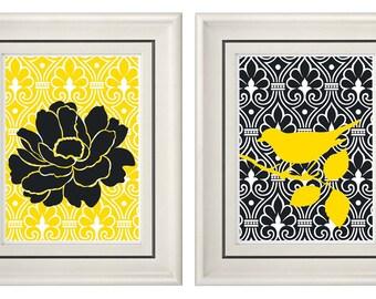 Set of Two Modern Yellow/Dark Gray - Wall Art - 8x11 Print Set - Home Decor (Unframed)