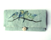 "Christmas idea Gift for her. Jewelry travel pouch. Printing of my original paint ""blue birds"""