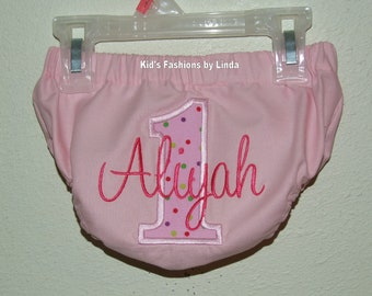 Personalized Pink with Pink Dots Birthday Number Diaper Cover