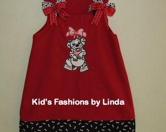 Red Aline Dress with Bones Cuff with Dalmation Design